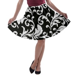 Black And White Floral Patterns A Line Skater Skirt