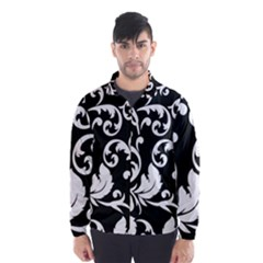 Black And White Floral Patterns Wind Breaker (men)