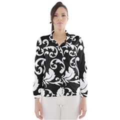 Black And White Floral Patterns Wind Breaker (women)