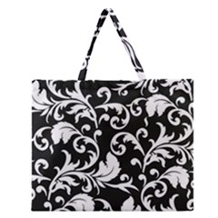 Black And White Floral Patterns Zipper Large Tote Bag