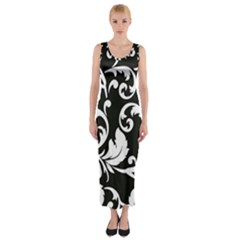 Black And White Floral Patterns Fitted Maxi Dress