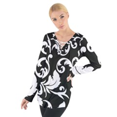 Black And White Floral Patterns Women s Tie Up Tee