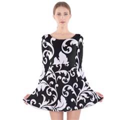 Black And White Floral Patterns Long Sleeve Velvet Skater Dress
