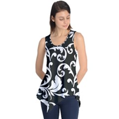 Black And White Floral Patterns Sleeveless Tunic