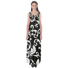 Black And White Floral Patterns Empire Waist Maxi Dress