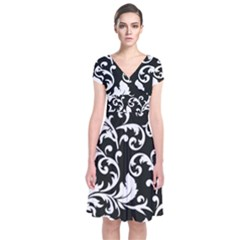Black And White Floral Patterns Short Sleeve Front Wrap Dress