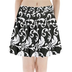 Black And White Floral Patterns Pleated Mini Skirt
