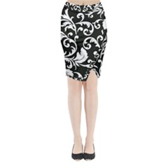 Black And White Floral Patterns Midi Wrap Pencil Skirt