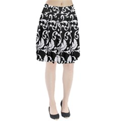 Black And White Floral Patterns Pleated Skirt