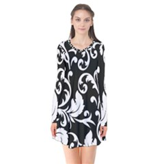 Black And White Floral Patterns Flare Dress