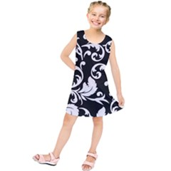 Black And White Floral Patterns Kids  Tunic Dress