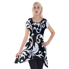Black And White Floral Patterns Short Sleeve Side Drop Tunic