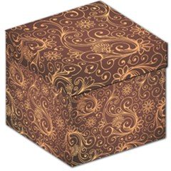 Gold And Brown Background Patterns Storage Stool 12