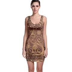 Gold And Brown Background Patterns Sleeveless Bodycon Dress