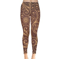 Gold And Brown Background Patterns Leggings