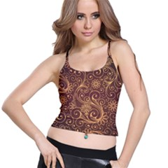 Gold And Brown Background Patterns Spaghetti Strap Bra Top