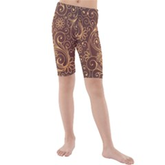 Gold And Brown Background Patterns Kids  Mid Length Swim Shorts