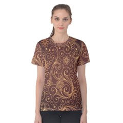 Gold And Brown Background Patterns Women s Cotton Tee
