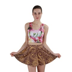Gold And Brown Background Patterns Mini Skirt