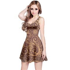 Gold And Brown Background Patterns Reversible Sleeveless Dress