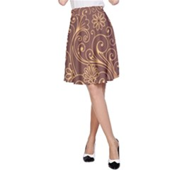 Gold And Brown Background Patterns A Line Skirt