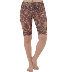 Gold And Brown Background Patterns Cropped Leggings