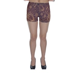 Gold And Brown Background Patterns Skinny Shorts