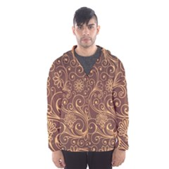 Gold And Brown Background Patterns Hooded Wind Breaker (men)
