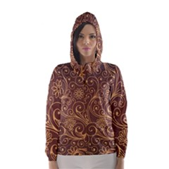Gold And Brown Background Patterns Hooded Wind Breaker (Women)