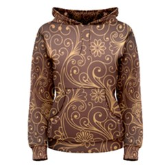 Gold And Brown Background Patterns Women s Pullover Hoodie