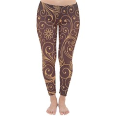Gold And Brown Background Patterns Classic Winter Leggings