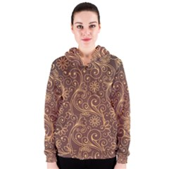 Gold And Brown Background Patterns Women s Zipper Hoodie