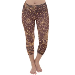 Gold And Brown Background Patterns Capri Winter Leggings