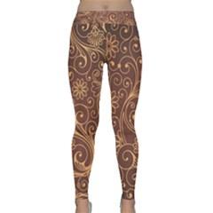 Gold And Brown Background Patterns Classic Yoga Leggings