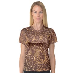 Gold And Brown Background Patterns Women s V Neck Sport Mesh Tee
