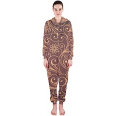 Gold And Brown Background Patterns Hooded Jumpsuit (ladies)