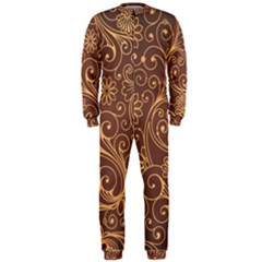 Gold And Brown Background Patterns Onepiece Jumpsuit (men)