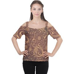 Gold And Brown Background Patterns Women s Cutout Shoulder Tee