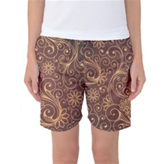 Gold And Brown Background Patterns Women s Basketball Shorts