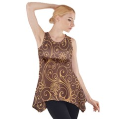 Gold And Brown Background Patterns Side Drop Tank Tunic