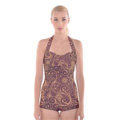 Gold And Brown Background Patterns Boyleg Halter Swimsuit