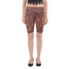 Gold And Brown Background Patterns Yoga Cropped Leggings