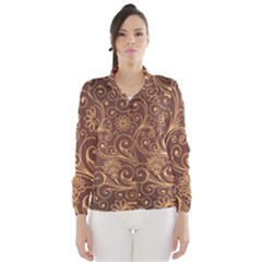 Gold And Brown Background Patterns Wind Breaker (women)