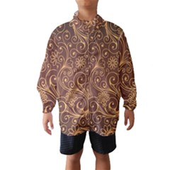 Gold And Brown Background Patterns Wind Breaker (kids)