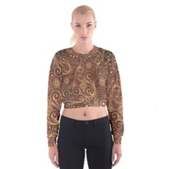 Gold And Brown Background Patterns Cropped Sweatshirt