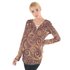 Gold And Brown Background Patterns Women s Tie Up Tee