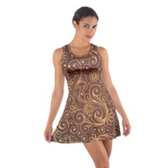 Gold And Brown Background Patterns Cotton Racerback Dress