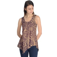 Gold And Brown Background Patterns Sleeveless Tunic