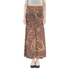 Gold And Brown Background Patterns Maxi Skirts