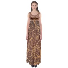 Gold And Brown Background Patterns Empire Waist Maxi Dress